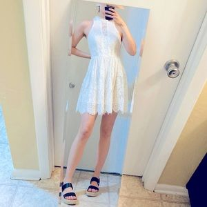 Free People White Short Lace High Neck Dress 4 S